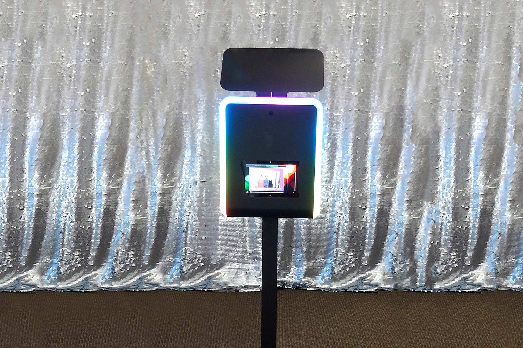 Infinite Photo Booth with Silver Sequin Photo Backdrop | Photo Magic Events